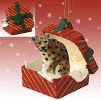 Leopard Gift Box Red Ornament