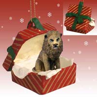 Lion Gift Box Red Ornament