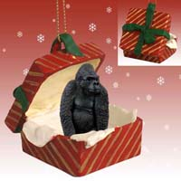 Gorilla Gift Box Red Ornament