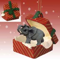 Elephant Gift Box Red Ornament