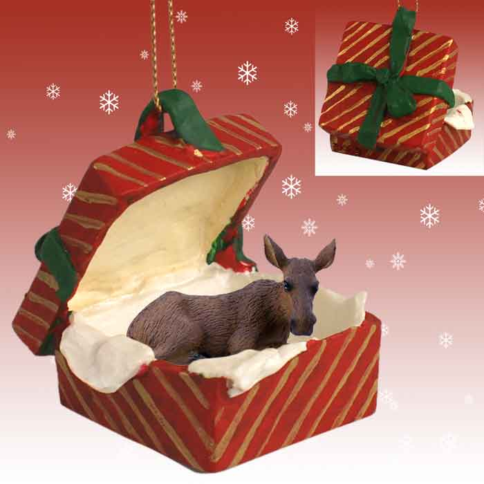 Moose Cow Gift Box Red Ornament