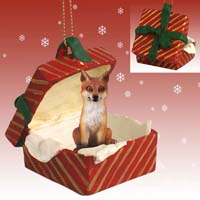 Fox Red Gift Box Red Ornament