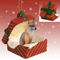 Gray Fox Red Gift Box Ornament