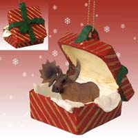 Moose Bull Gift Box Red Ornament