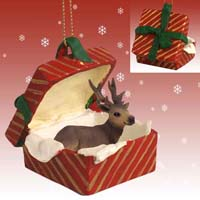Elk Bull Gift Box Red Ornament