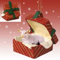 Goat White Gift Box Red Ornament