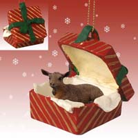 Goat Brown Gift Box Red Ornament