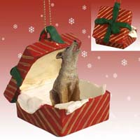 Coyote Gift Box Red Ornament