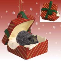 Hedgehog Gift Box Red Ornament