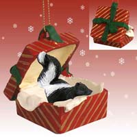 Skunk Gift Box Red Ornament