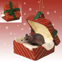 Mouse Gift Box Red Ornament