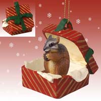 Chipmunk Gift Box Red Ornament