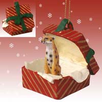 Cheetah Gift Box Red Ornament