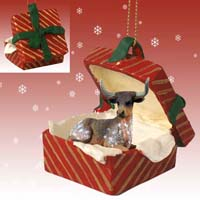 Long Horn Steer Gift Box Red Ornament