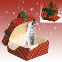 Wolf White Gift Box Red Ornament