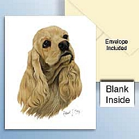 Cocker Spaniel Blonde Greeting Cards Set of 6 *Enevelope NOT included!*
