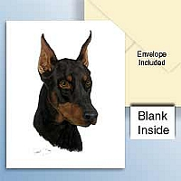 Doberman Pinscher Black w/Cropped Ears Greeting Cards Set of 6 *Enevelope NOT included!*