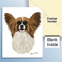 Papillon Brown & White Greeting Cards Set of 6 *Enevelope NOT included!*