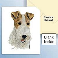 Wire Fox Terrier Red Greeting Cards Set of 6 *Enevelope NOT included!*