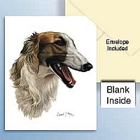 Borzoi Greeting Cards Set of 6 *Enevelope NOT included!*