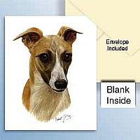 Whippet Tan & White Greeting Cards Set of 6 *Enevelope NOT included!*