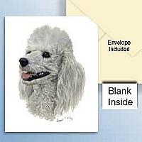 Poodle White Greeting Cards Set of 6 *Enevelope NOT included!*