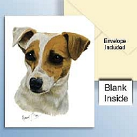 Jack Russell Terrier Brown & White w/Smooth Coat Greeting Cards Set of 6 *Enevelope NOT included!*