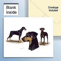 Doberman Pinscher Black w/Uncropped Ears Greeting Cards Set of 6 *Enevelope NOT included!*