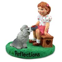 Poodle Gray Reflections w/Girl Figurine