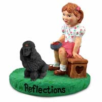 Poodle Black Reflections w/Girl Figurine