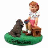 Poodle Chocolate Reflections w/Girl Figurine