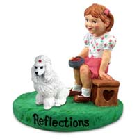 Poodle White Reflections w/Girl Figurine