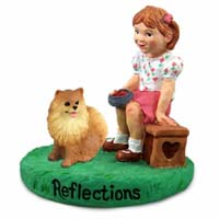 Pomeranian Red Reflections w/Girl Figurine