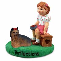 Yorkshire Terrier Reflections w/Girl Figurine