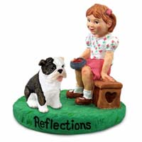 Bulldog Brindle Reflections w/Girl Figurine