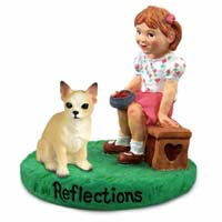 Chihuahua Tan & White Reflections w/Girl Figurine