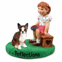 Chihuahua Brindle & White Reflections w/Girl Figurine