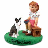 Bull Terrier Brindle Reflections w/Girl Figurine