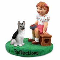 German Shepherd Black & Silver Reflections w/Girl Figurine