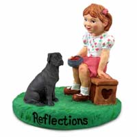 Great Dane Black w/Uncropped Ears Reflections w/Girl Figurine