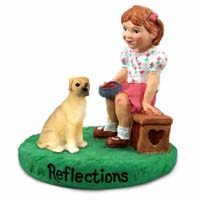 Great Dane Fawn w/Uncropped Ears Reflections w/Girl Figurine