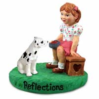 Great Dane Harlequin w/Uncropped Ears Reflections w/Girl Figurine