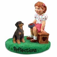 Doberman Pinscher Red w/Uncropped Ears Reflections w/Girl Figurine