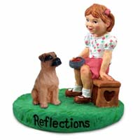 Boxer Tawny w/Uncropped Ears Reflections w/Girl Figurine