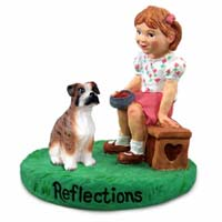 Boxer Brindle w/Uncropped Ears Reflections w/Girl Figurine