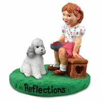 Poodle Gray w/Sport Cut Reflections w/Girl Figurine