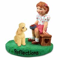 Poodle Apricot w/Sport Cut Reflections w/Girl Figurine