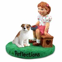 Jack Russell Terrier Brown & White w/Smooth Coat Reflections w/Girl Figurine