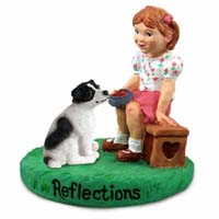 Jack Russell Terrier Black & White w/Smooth Coat Reflections w/Girl Figurine