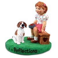 Pointer Brown & White Reflections w/Girl Figurine